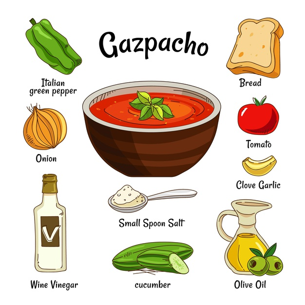 Ingredients to andalusian gazpacho